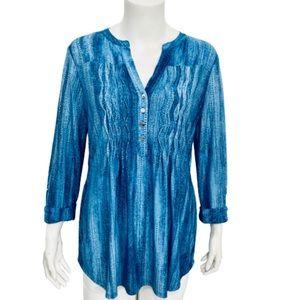 COCOMO | Women's Blue Split Collar Button Up Top M